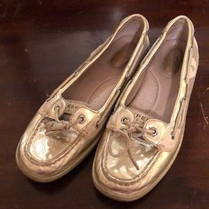 Gold Sperry topsiders
